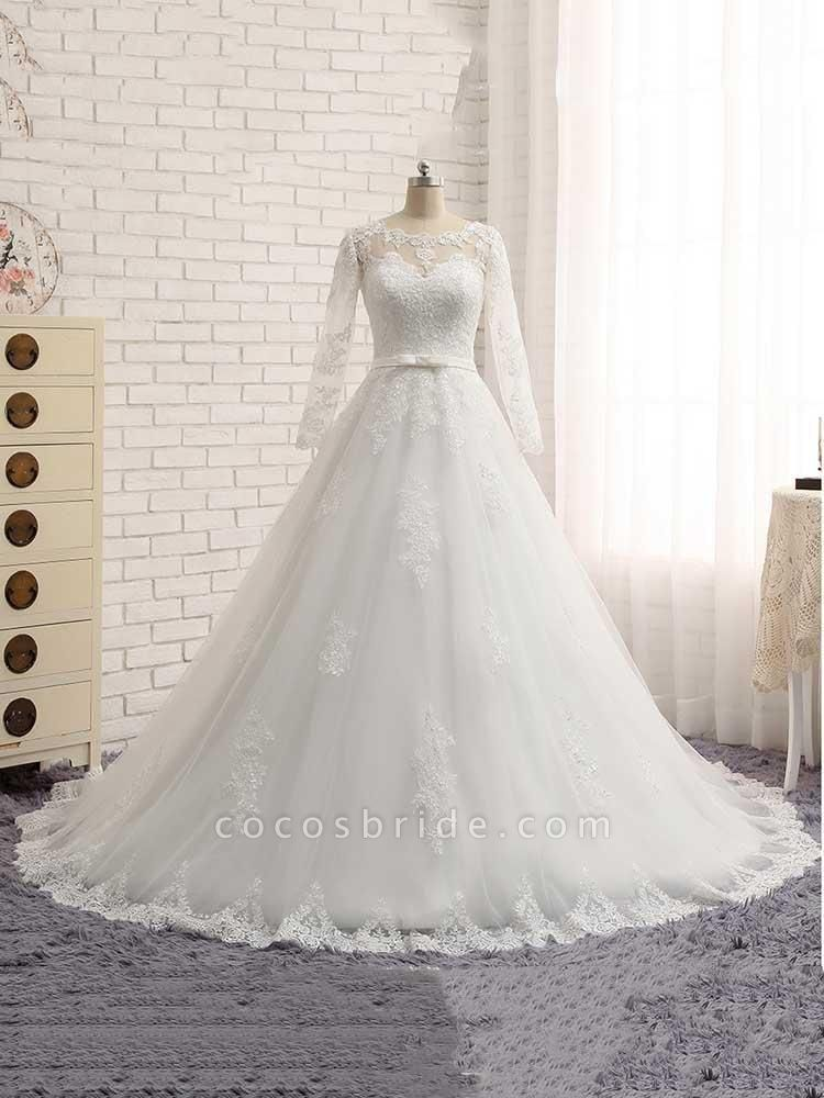 Gorgeous Long Sleeves Lace Ribbon Tulle Wedding Dresses