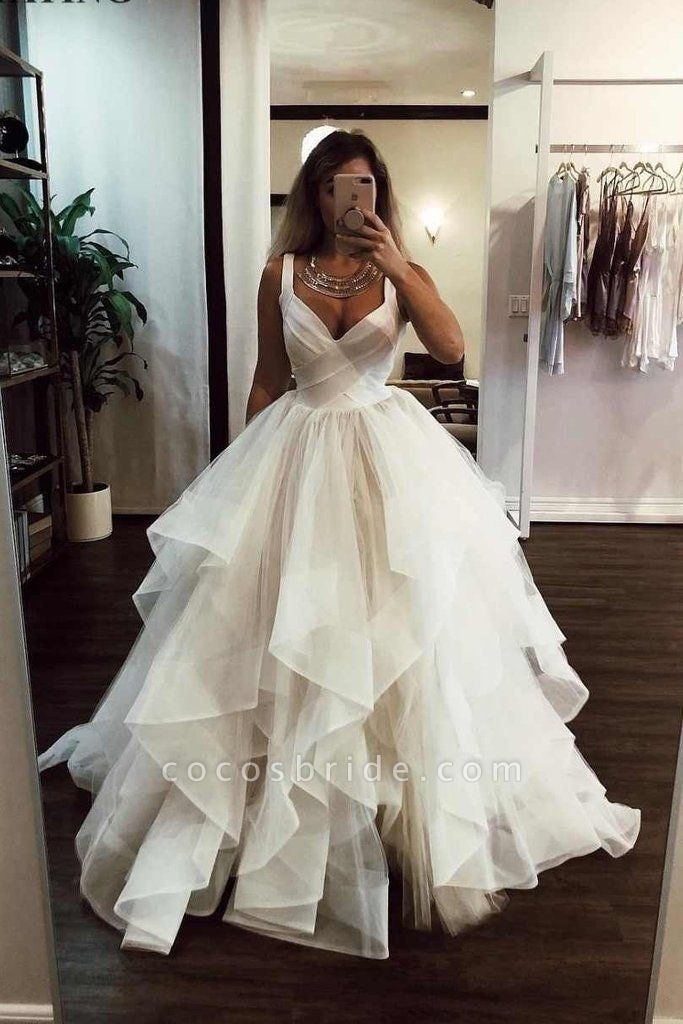 Puffy Straps Long Beach Unique Cascading Ruffles Wedding Dress
