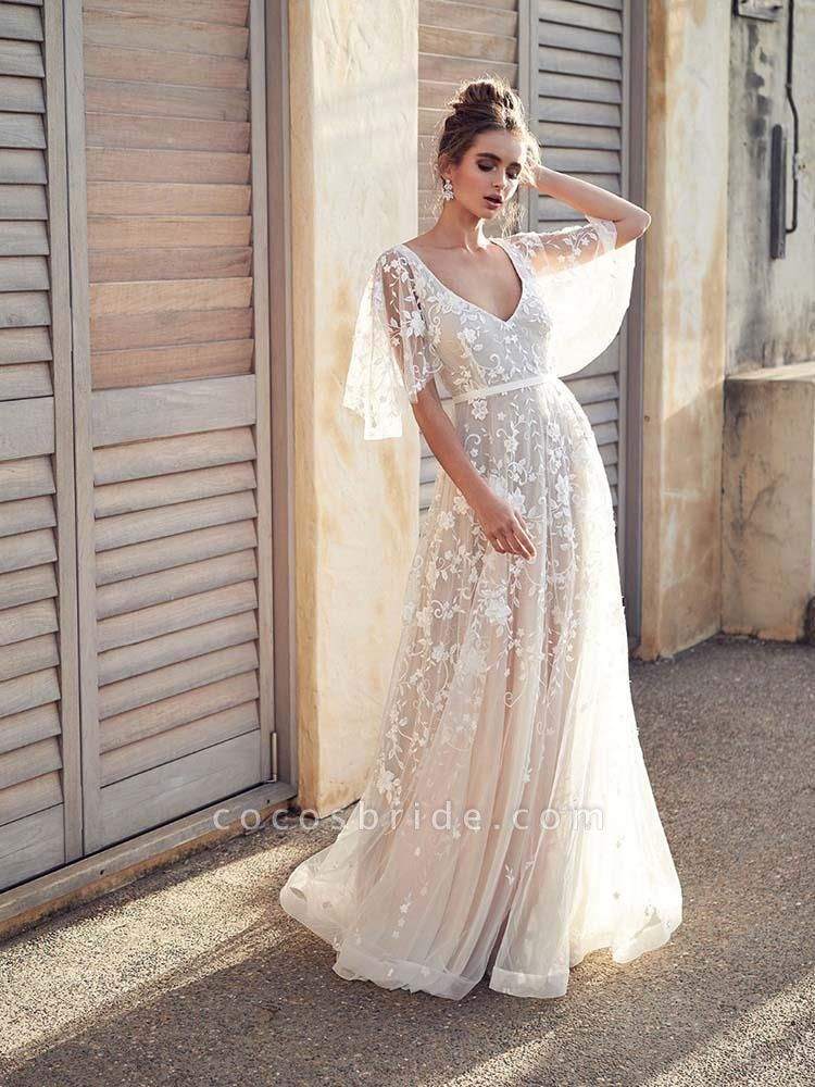 Cheap V Neck Half Sleeve Lace Boho Wedding Dresses