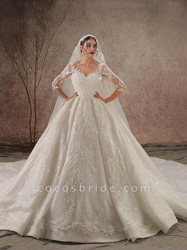 Luxury Shinny Three Quarter Sleeve Lace Beading Ball Gown Wedding Dresses