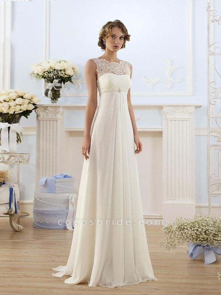 Honorable Sleeveless Lace-up Empire Chiffon Wedding Dresses