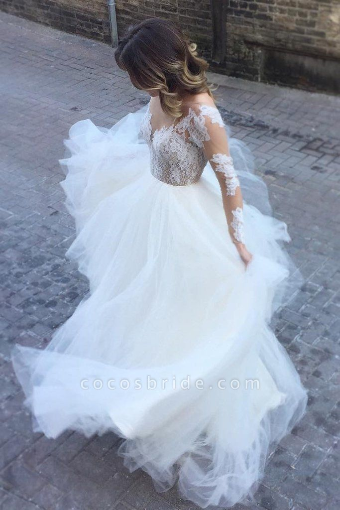 Ivory Sheer Long Sleeves Lace Tulle Backless Beach Wedding Dress