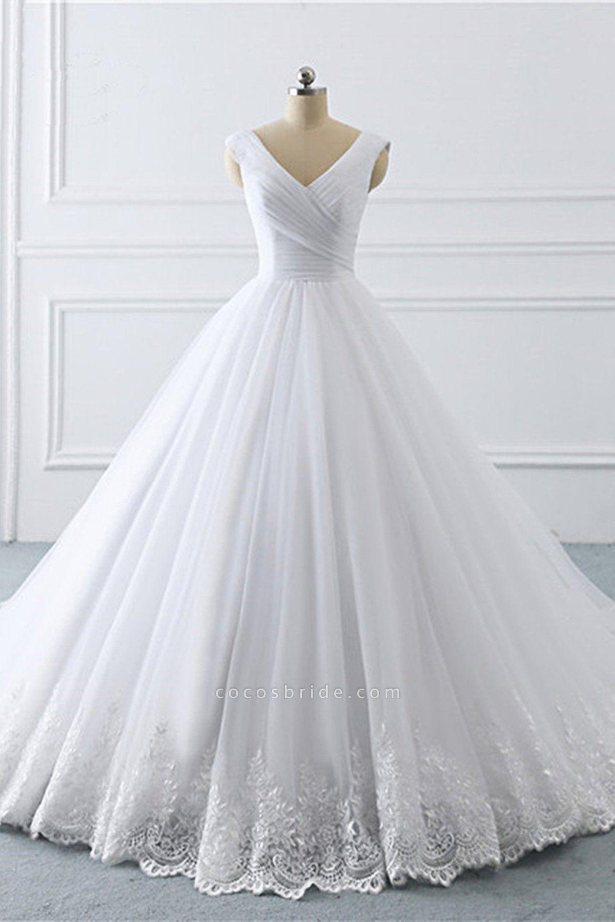 Unique White Lace V Neck Puffy Sweep Train Wedding Dress