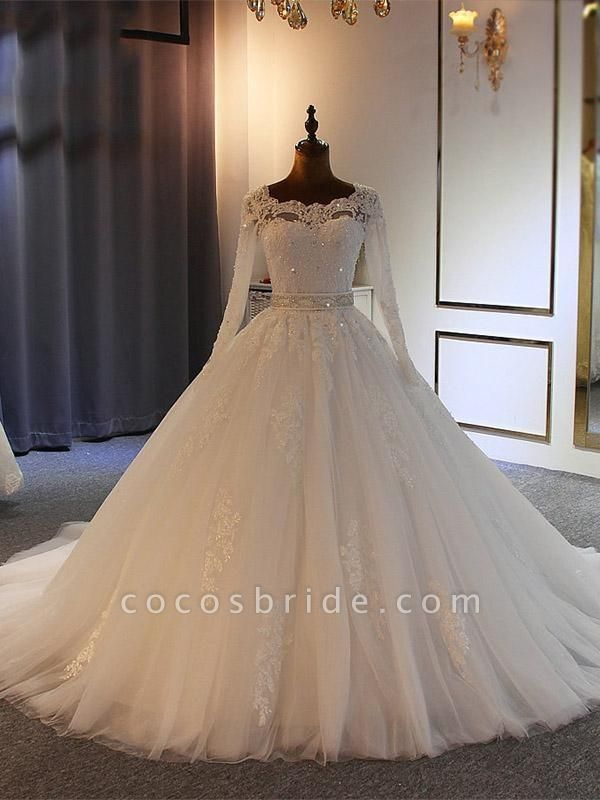 Exquisite Bowknot Ball Gown Wedding Dresses with Long Sleeves