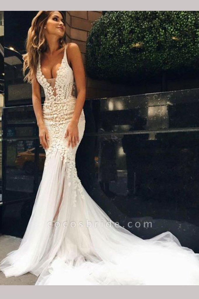Luxurious Deep V-neck Tulle Mermaid Wedding Dress