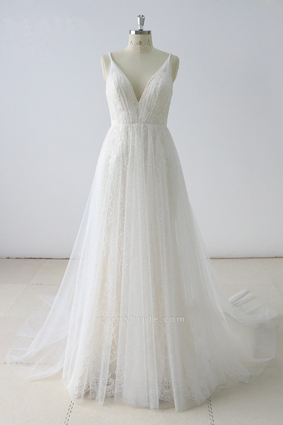 Simple White Lace V Neck Long Halteres Long Wedding Dress
