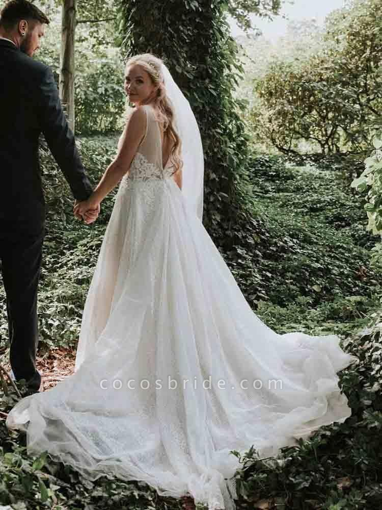 Gorgeous V-Neck Backless Ruffles Wedding Dresses