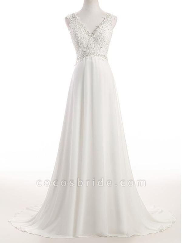 Elegant V Neck Lace Chiffon A-Line Wedding Dresses