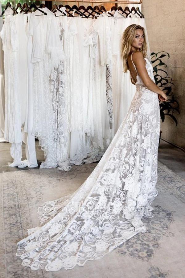 Spaghetti Straps Backless Lace Boho Wedding Dress