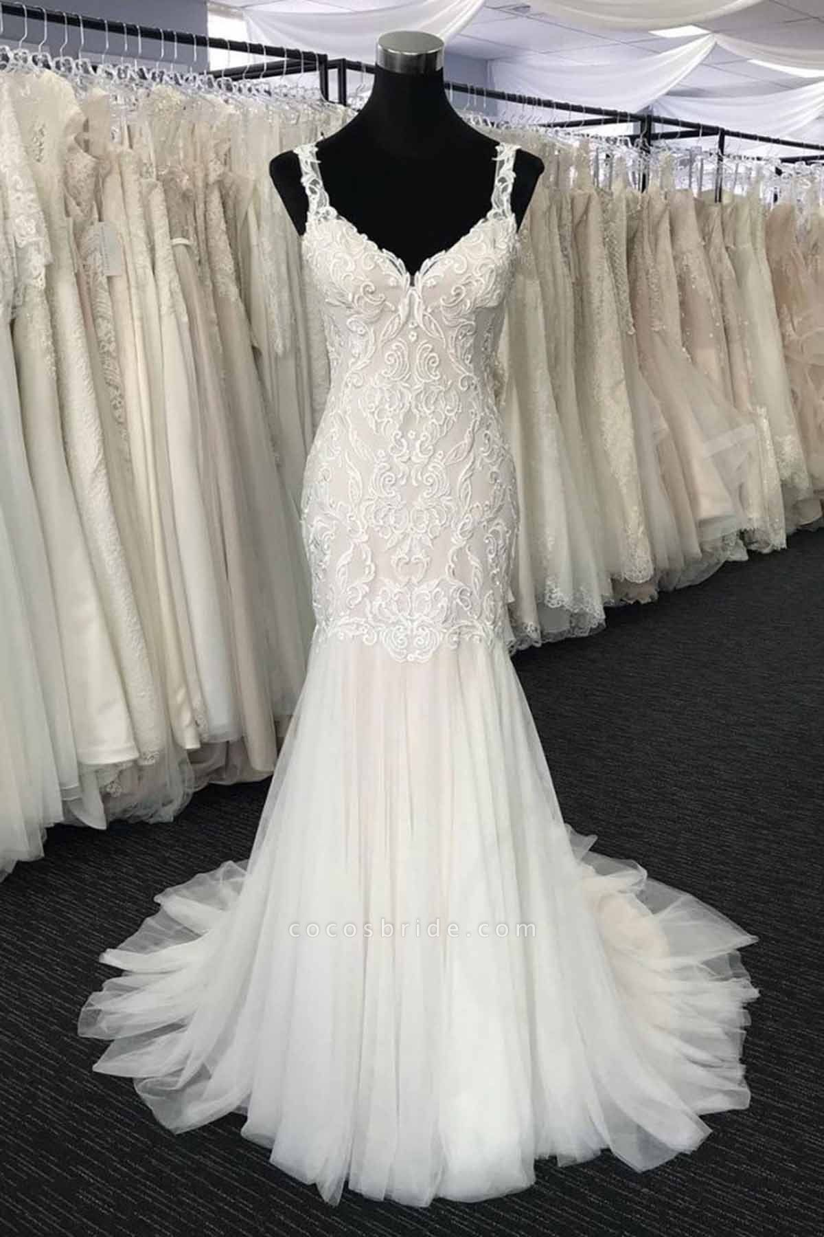 White Tulle V Neck Long Mermaid Lace Wedding Dress