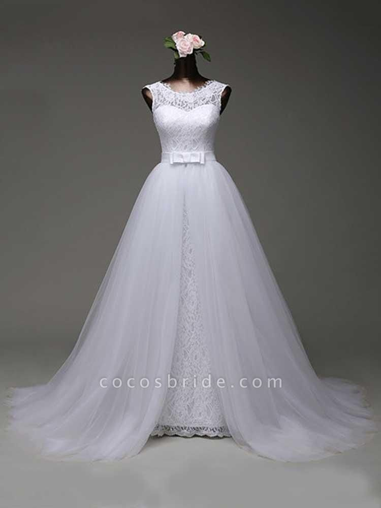 Elegant Bow Lace-Up Tulle Mermaid Wedding Dresses