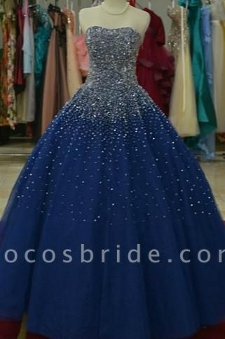 Royal Blue Organza Sweetheart Sequins A-Line Wedding Dress