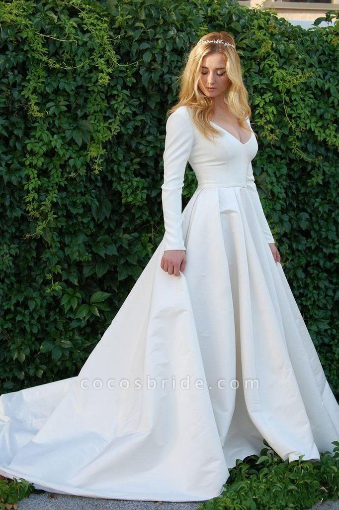 New Elegant Satin V Neck Long Sleeve Wedding Dress