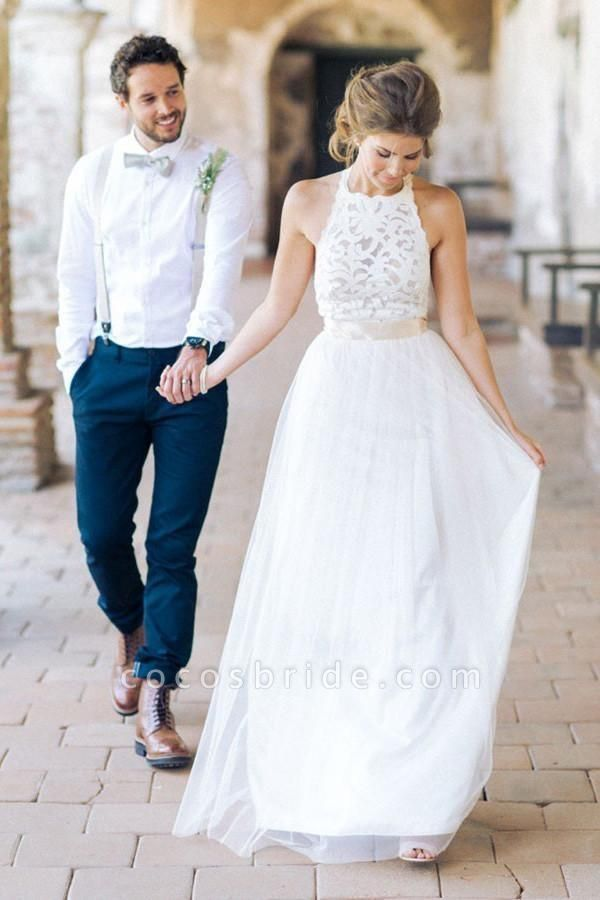 Simple Jewel Sleeveless Gown Lace Top Tulle Beach Wedding Dress