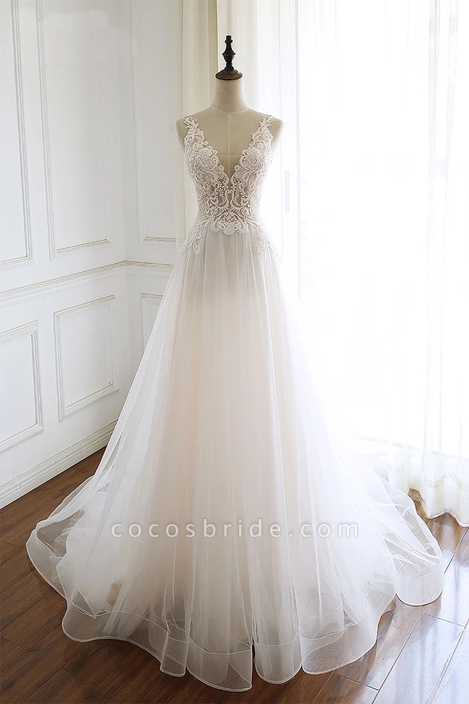 White Tulle Lace Custom Size Long Wedding Dress