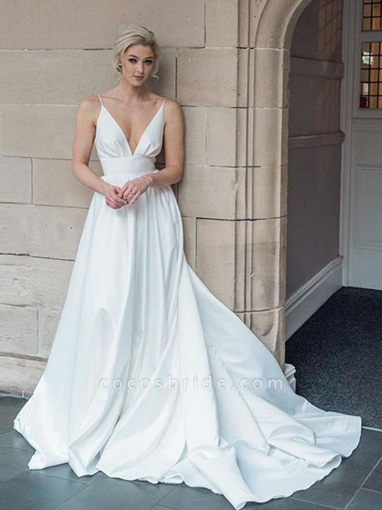 Simple Spaghetti Strap Sleeveless Backless A-Line Wedding Dresses