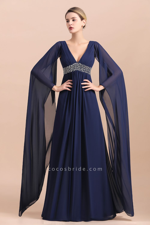 Long Sleeve Ruffles Beads Pearls Chiffon Mother Of the Bride Dress