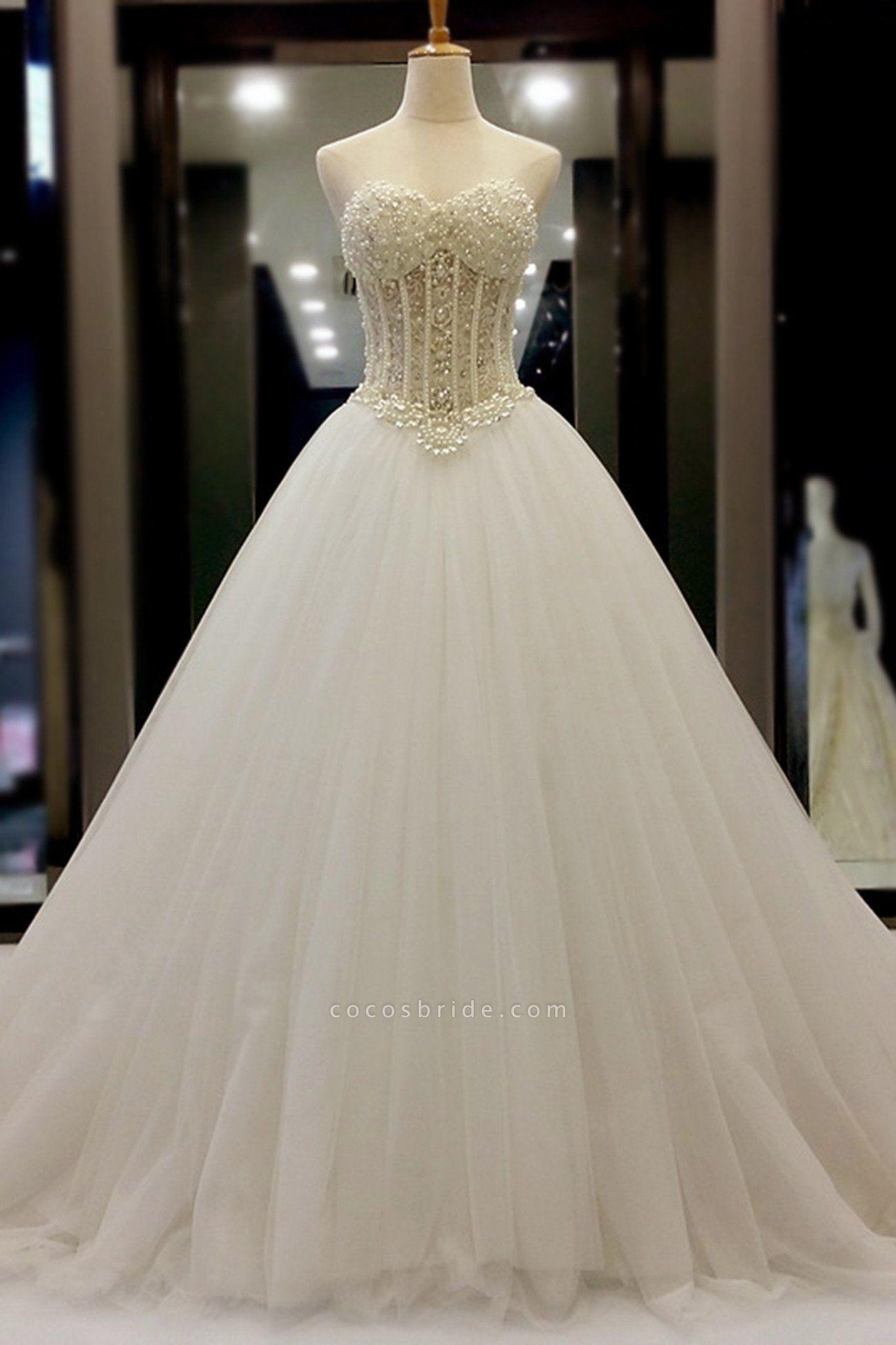 White Organza Sweetheart Beading Pearl A-Line Wedding Dresses