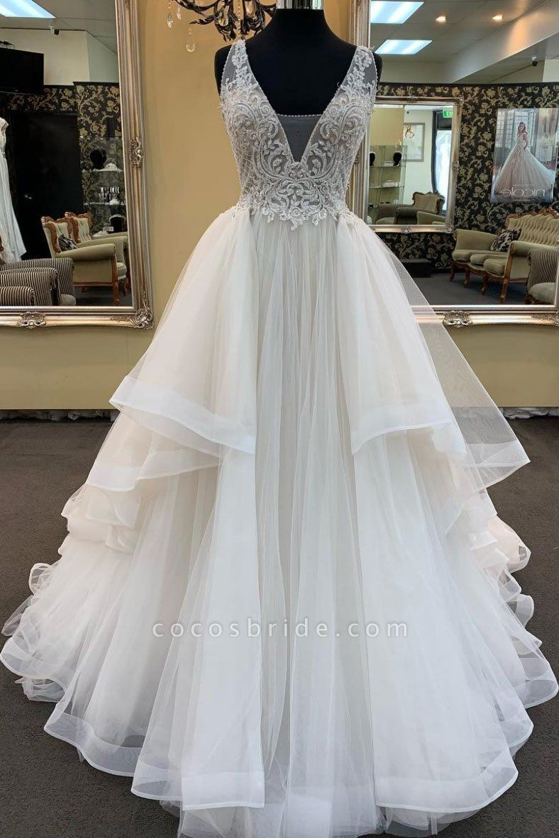 White Tulle Lace Ruffles White Wedding Dress