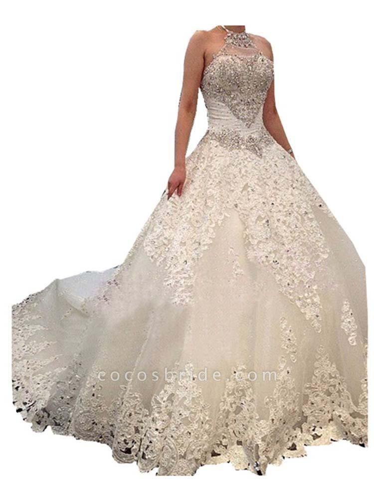 Elegant Halter Lace Sashes Ball Gown Wedding Dresses