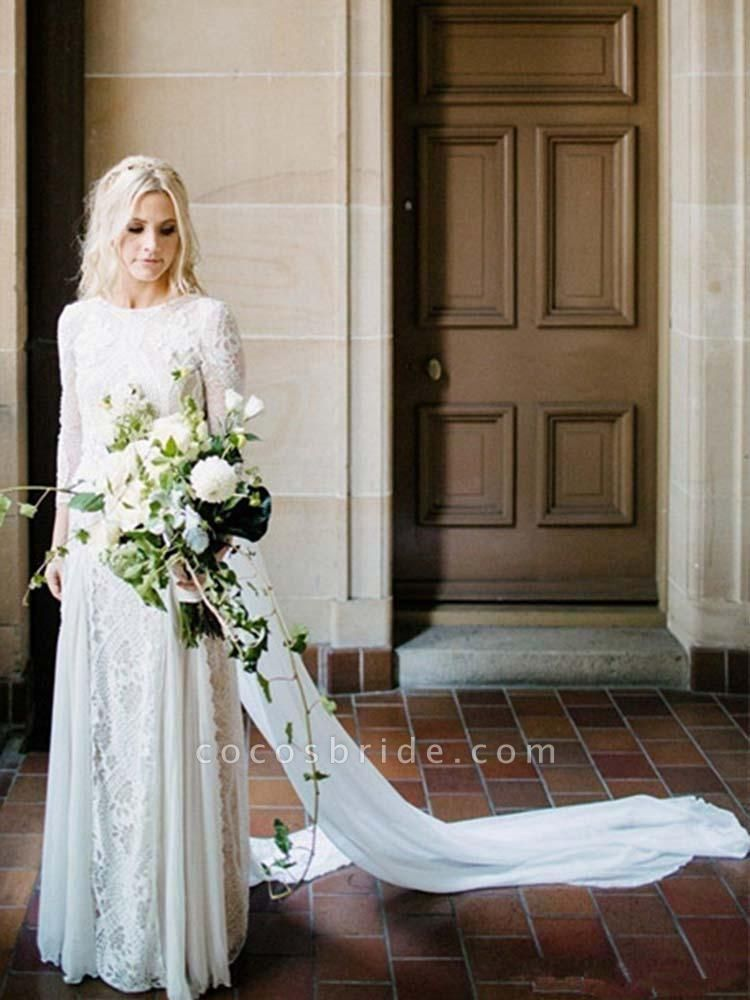 Long Sleeves Backless Floor Length Lace Wedding Dresses