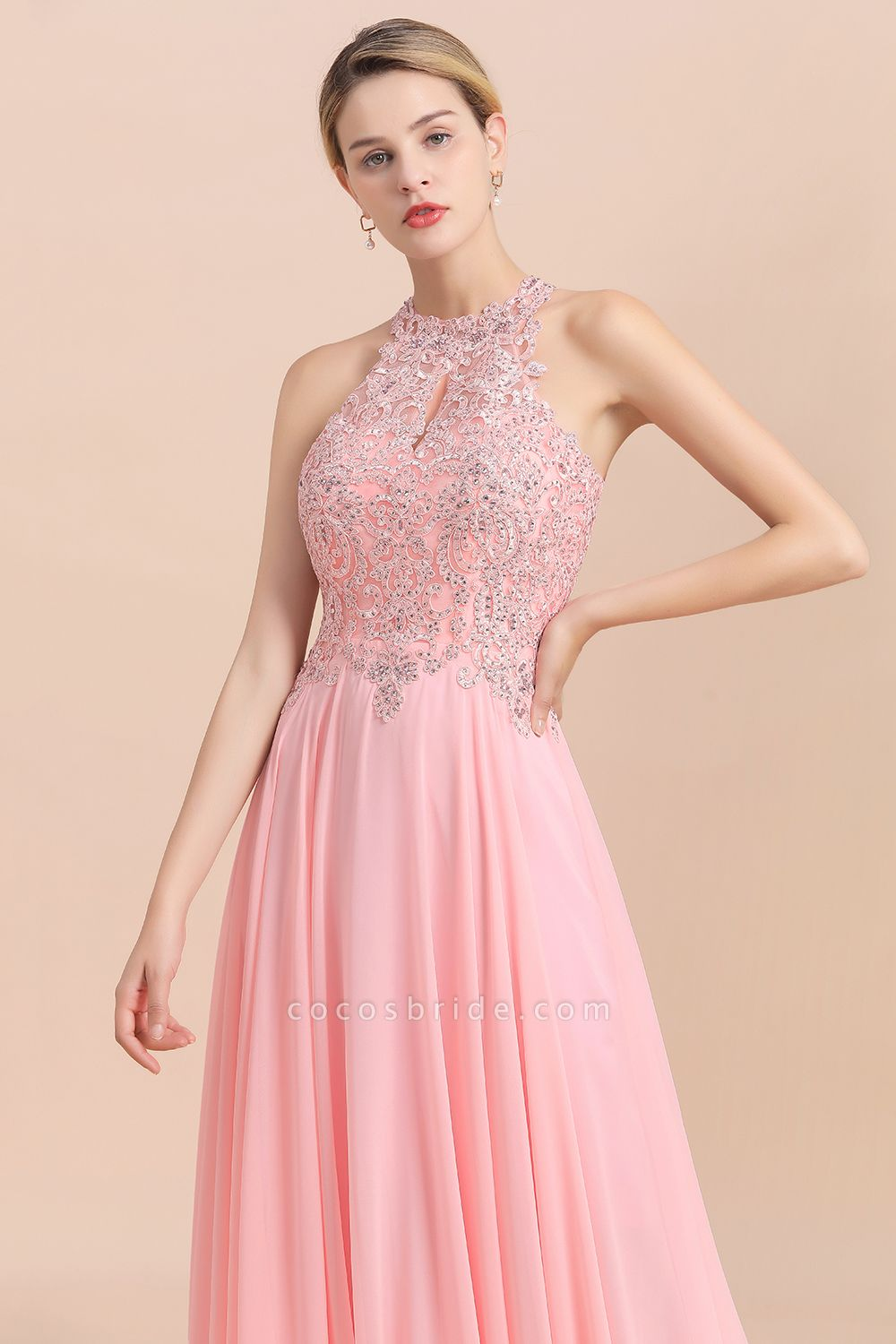 Pears Crystal A Line Halter Wedding Dresses Lace Wedding Gowns