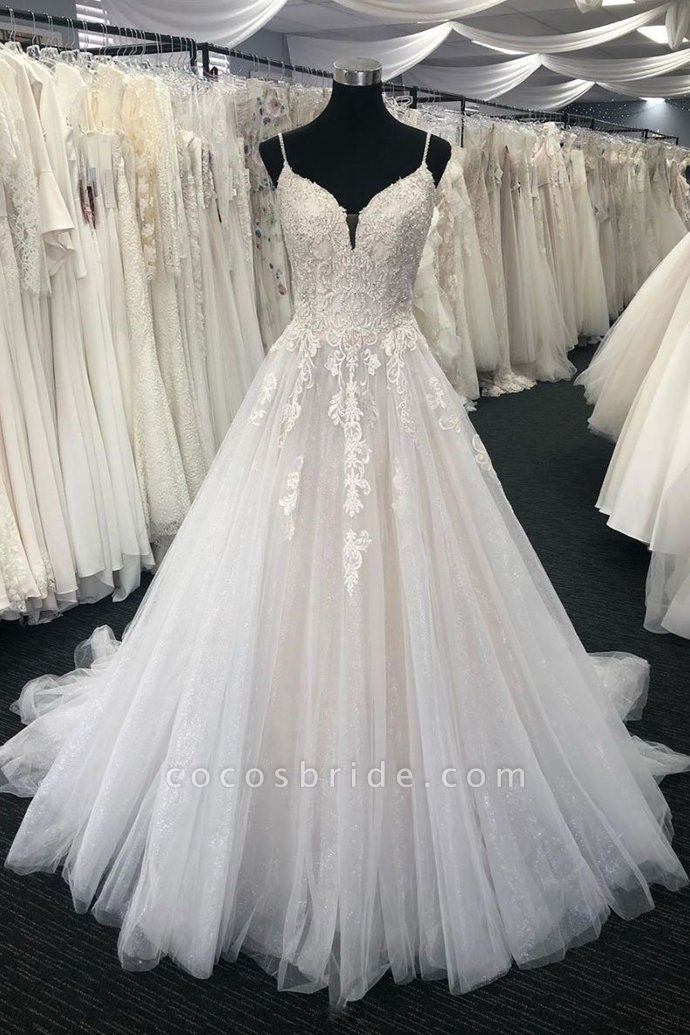 White Tulle Lace Long Formal Dress Spaghetti Straps Wedding Dress