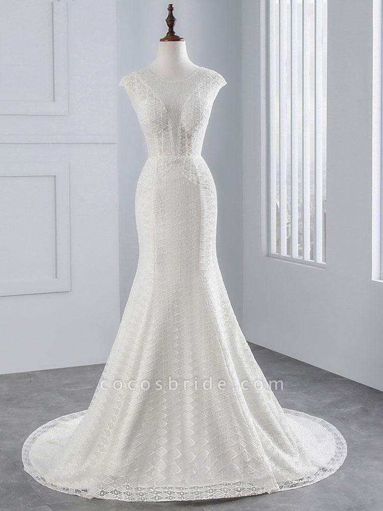Elegant Cap Sleeves Lace-up Mermaid Wedding Dresses