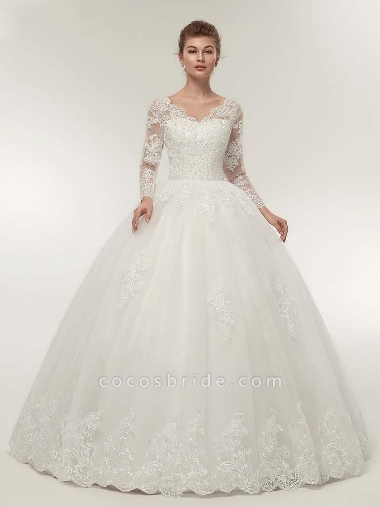 Long Sleeves V-Neck Ball Gown Lace Wedding Dresses