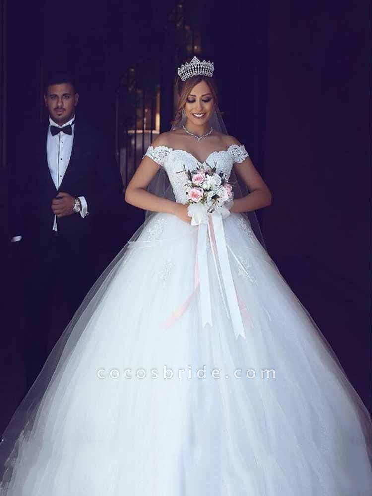 Amazing Off-the- Shoulder Lace Ball Gown Tulle Wedding Dresses