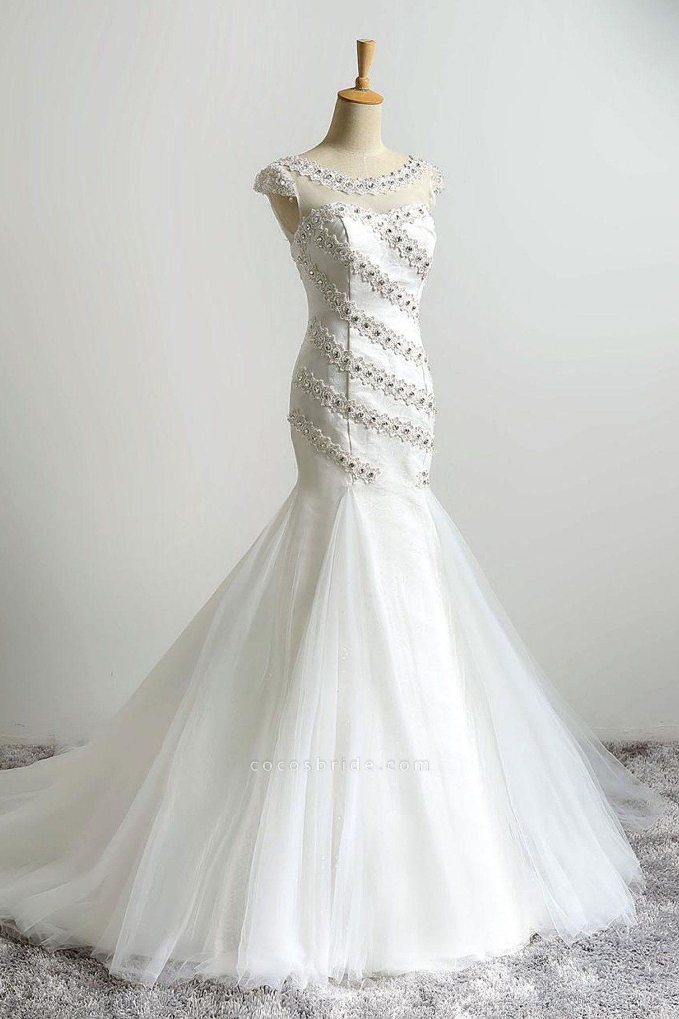 White Organza Beading Mermaid Train Wedding Dresses