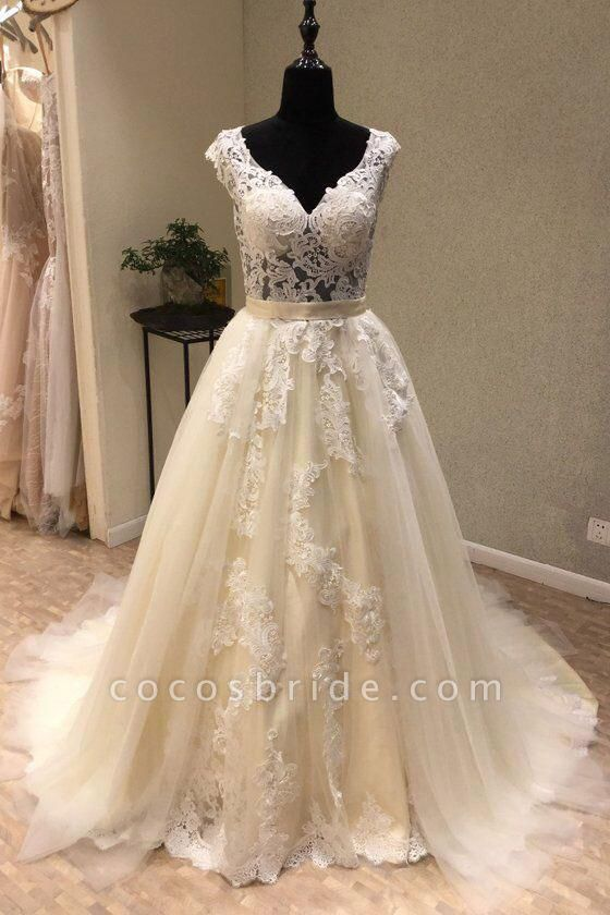 Ivory Tulle Lace V Neck Long Cap Sleeve Ivory Wedding Dress