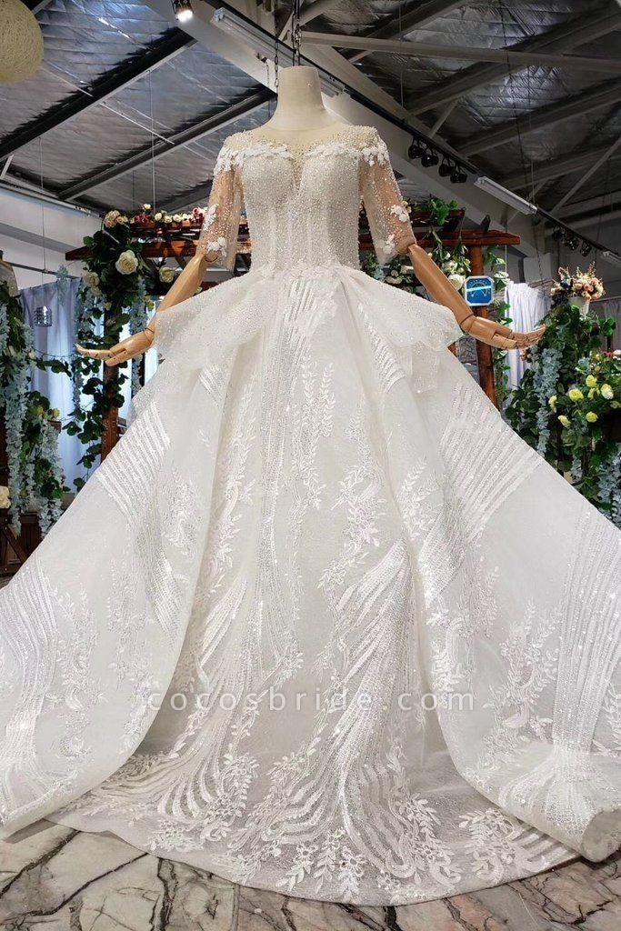 Ball Gown Half Sleeves Lace with Sequins Sheer Neck Long Wedding Dress