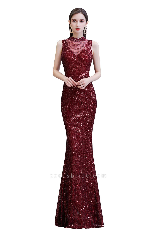 Gorgeous Mermaid Burgundy Sequins Long Prom Dress