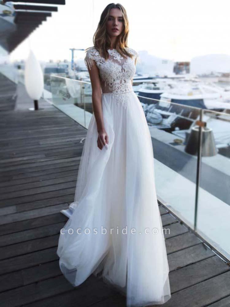 Gorgeous Cap Sleeves Appliques Tulle Wedding Dresses