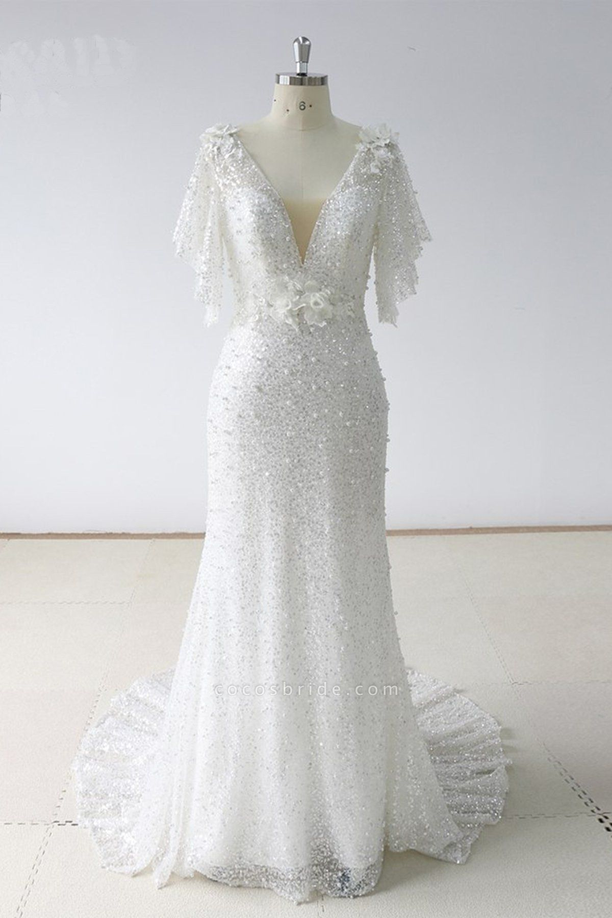 Stunning Sequins White Tulle Sweep Train Mermaid Short Sleeve Wedding Dress