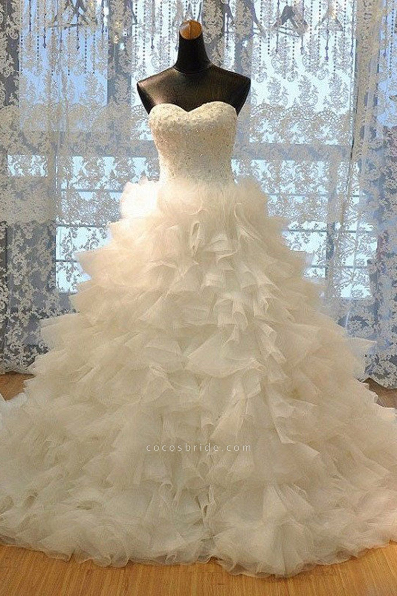 Ivory Organza Sweetheart Sequins A-Line Floor-Length Wedding Dresses