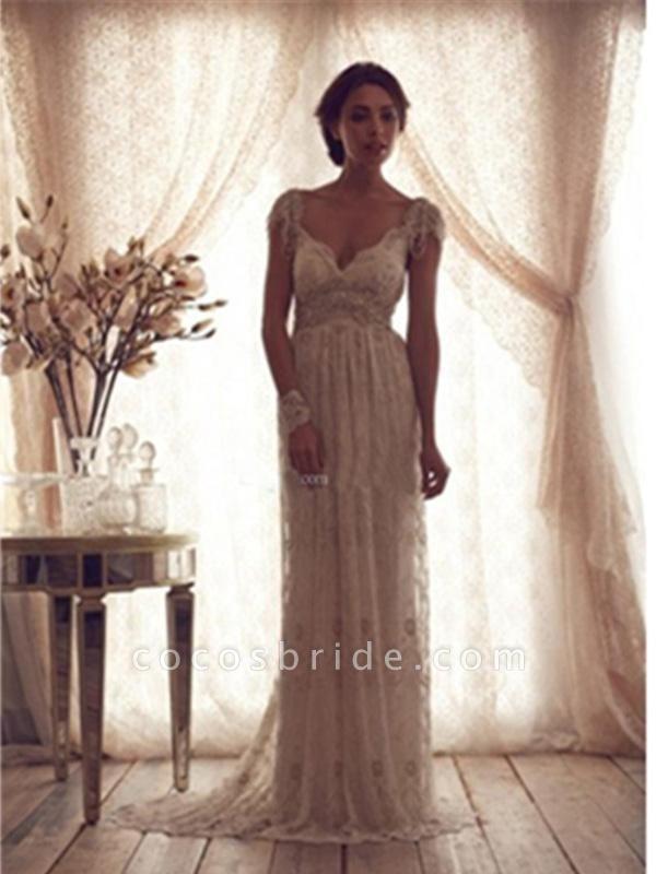 V Neck Backless Boho Wedding Dresses