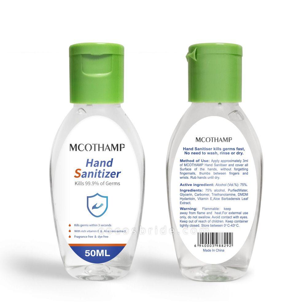 Instant Travel Size Disposable Hand Sanitizer 75% Alcohol 20 bottles*50ml