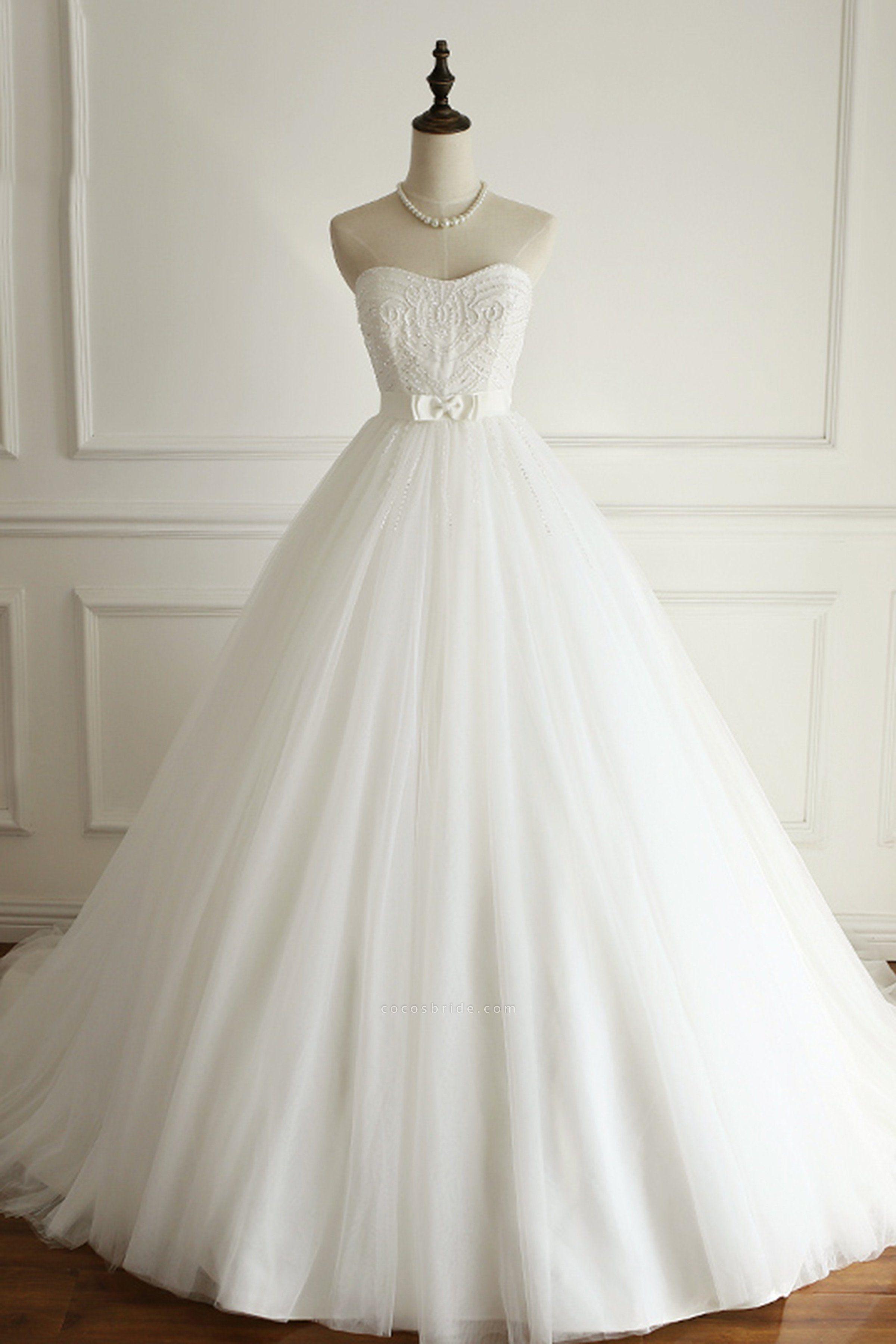White Tulle Sweetheart Beaded Wedding Dress