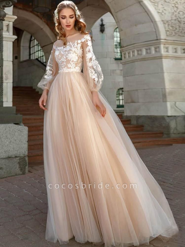 Long Sleeves A-line Appliques Tulle Wedding Dresses