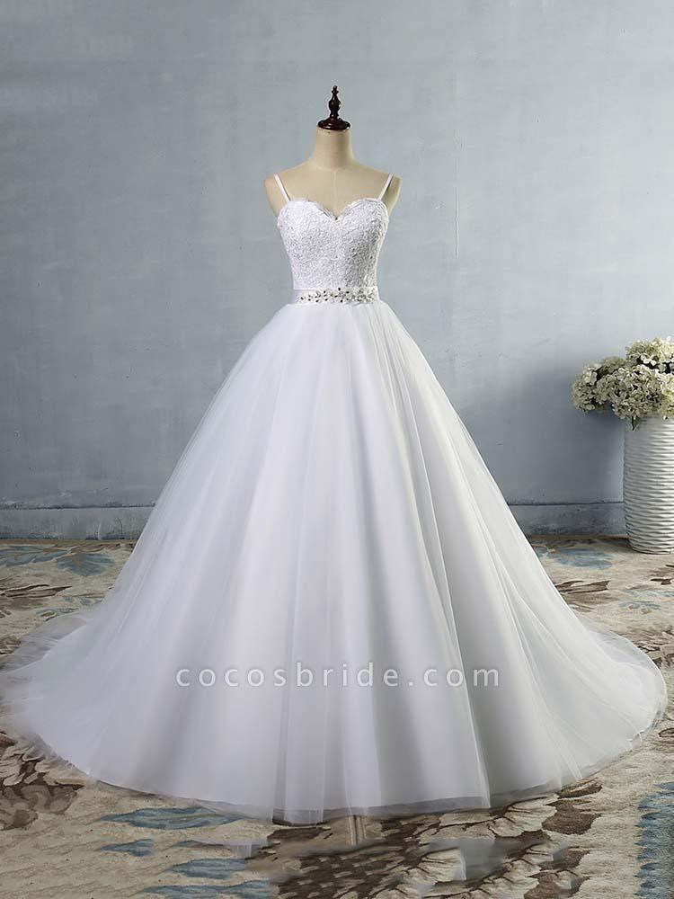 Elegant Spaghetti-Strap Lace Sashes Tulle Wedding Dresses