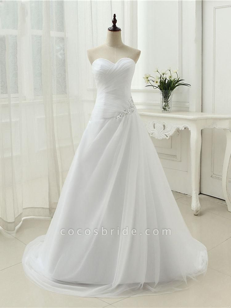 Gorgeous Strapless Ruffle Beaded Tulle Wedding Dresses