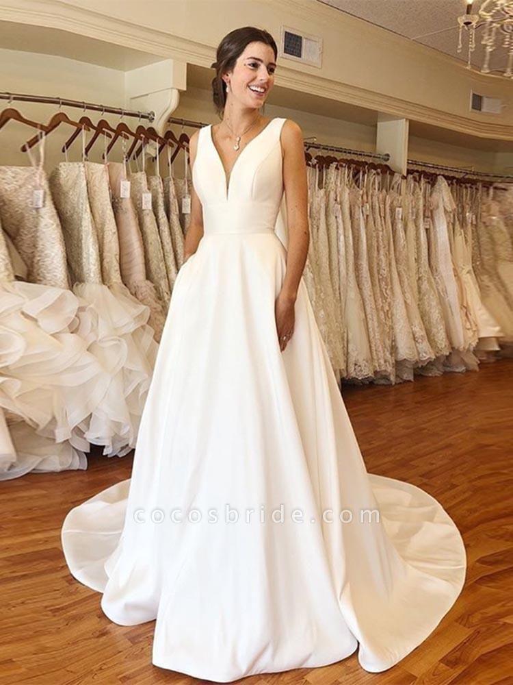 Modest V-Neck Sweep Train Ruffles Wedding Dresses