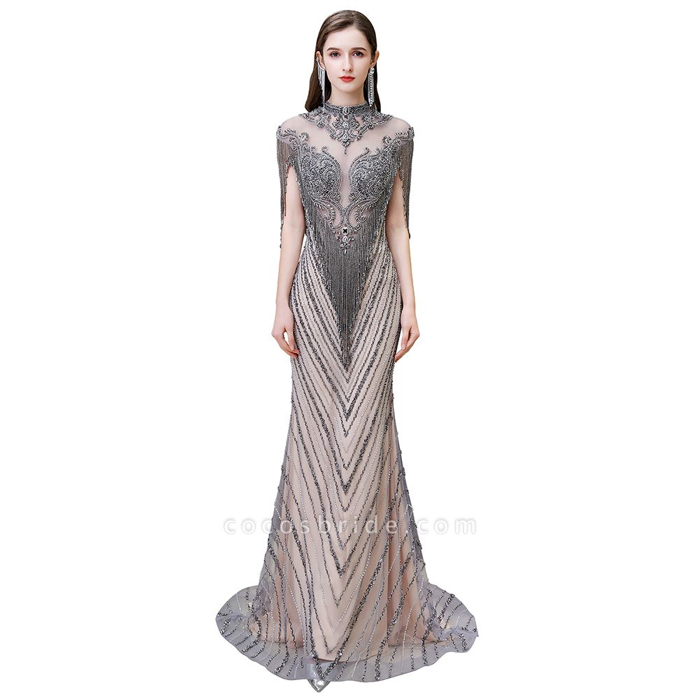 High Neck Cap sleeves Sparkle Beads Long Prom Dresses