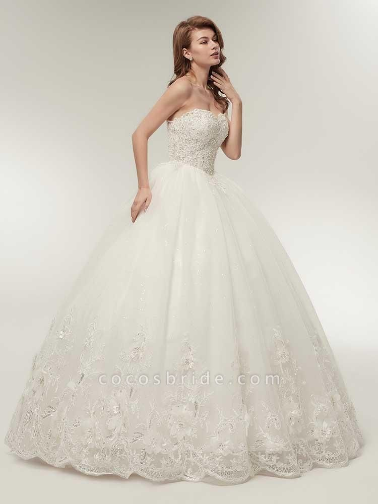 Elegant Sweetheart Beaded Lace-Up Ball Gown Wedding Dresses