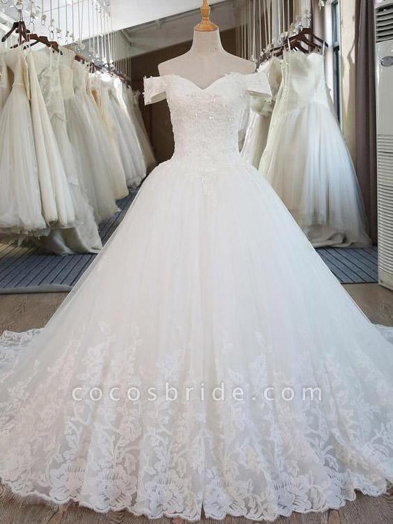 Elegant V-Neck Ball Gown Wedding Dresses Appliques Beaded Court Train
