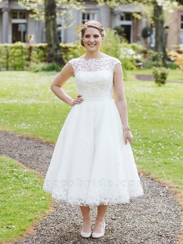 Elegant Lace Covered Button Short Wedding Dresses