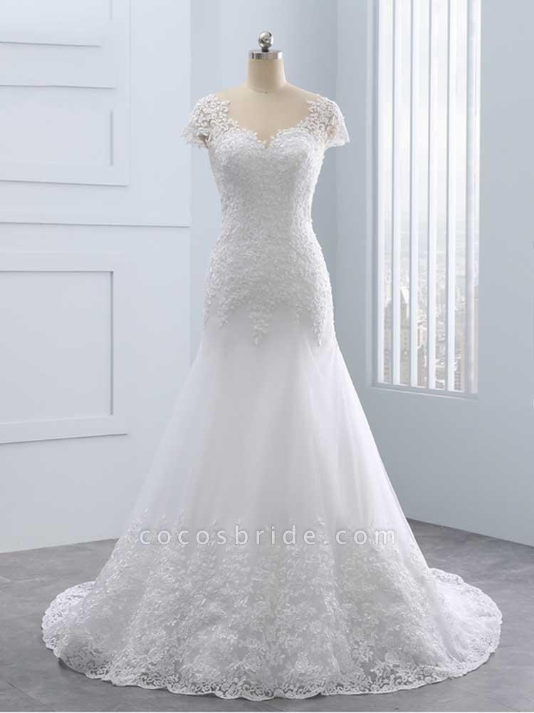 Cap Sleeves Lace Mermaid Tulle Wedding Dresses
