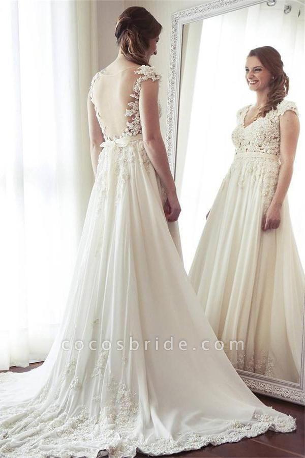 Charming Long Ivory Chiffon V-neck Elegant Beach Wedding Dress